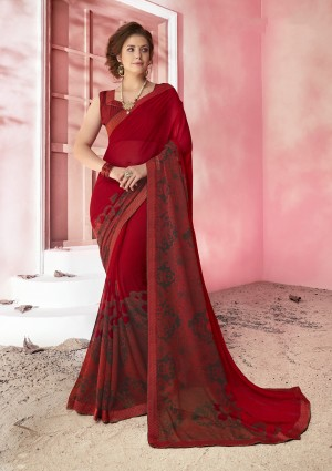 Maroon Casual Wear Saree